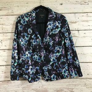 Ann Taylor Floral Blue One Button Blazer